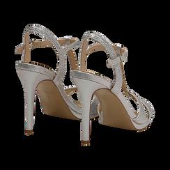 Sandalo argento in laminato, tacco 10,50 cm, Sandali con tacco, 132127402LMARGE036, 004 preview