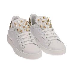 Sneakers bianche in pelle con glitter oro, Primadonna, 17L600400PEBIOR035, 002 preview