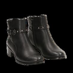 Ankle boots neri in eco-pelle, tacco 4 cm , Scarpe, 143098118EPNERO036, 002a
