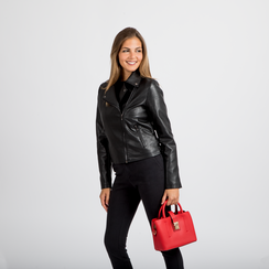 Mini bag rossa in ecopelle con tracolla a bandoliera, Saldi Borse, 122429139EPROSSUNI, 005 preview