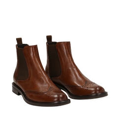 Chelsea boots cuoio in vera pelle, Stivaletti, 147729508PECUOI035, 002a