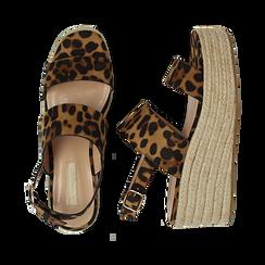 Sandali platform leopard in microfibra, zeppa in corda 7 cm , Saldi, 132708157MFLEOP035, 003 preview