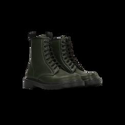 Anfibi verdi con lacci, tacco basso, Scarpe, 122801501EPVERD036, 002 preview
