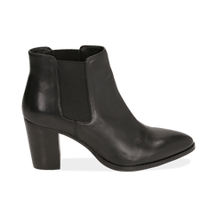Chelsea boots neri in pelle di vitello, tacco 7 cm, Primadonna, 15J492446VINERO036, 001 preview