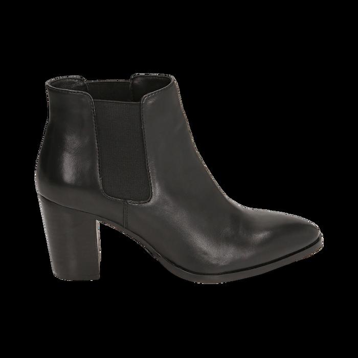 Chelsea boots neri in pelle di vitello, tacco 7 cm, Scarpe, 15J492446VINERO035