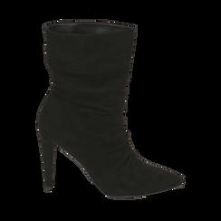 Ankle boots drappeggiati neri in microfibra, tacco 10 cm , Stivaletti, 142152925MFNERO035, 001a