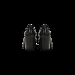 Francesine stringate nere in vera pelle, tacco medio, Scarpe, 127723812PENERO, 003 preview