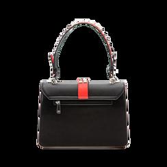 Mini bag nero-rossa in ecopelle con borchie, Saldi Borse, 121909421EPNERSUNI, 002 preview