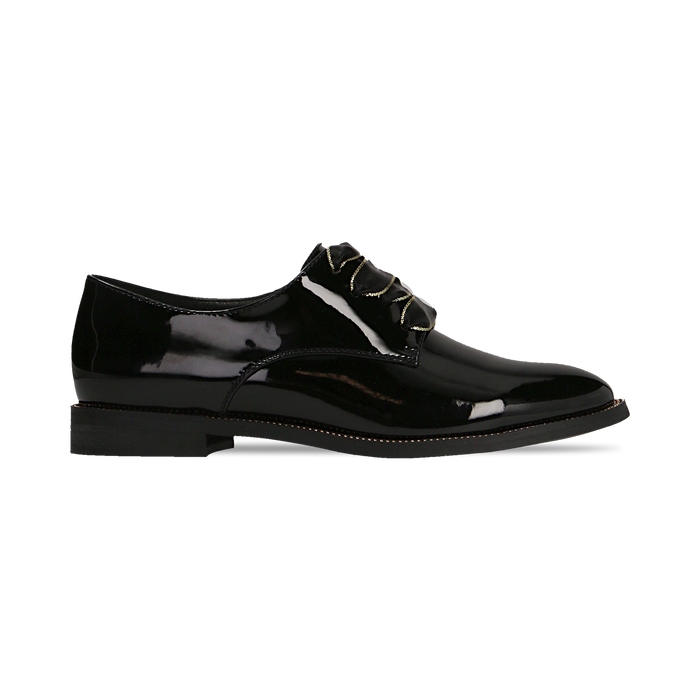 Stringate derby vernice nera tacco basso, Primadonna, 120618121VENERO035