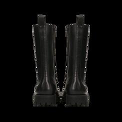 Anfibi neri in vera pelle, con maxi-occhielli e gambale alto, tacco basso, Scarpe, 127723706VINERO, 003 preview