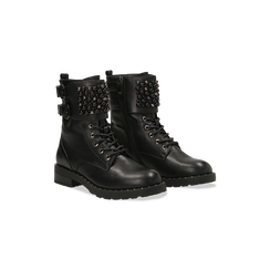 Anfibi neri con dettagli metal e perle nere, tacco basso, Scarpe, 12A772520EPNERO, 002 preview