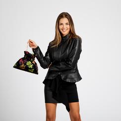 Pochette nera a secchiello in velluto fiorato, Saldi Borse, 123308776TFNEROUNI, 004 preview