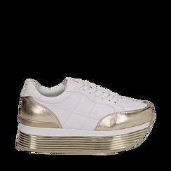 Sneakers bianche in eco-pelle con platform oro, Scarpe, 130751703EPBIOR038, 001a