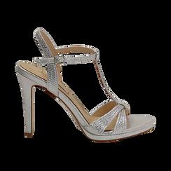 Sandalo argento in laminato, tacco 10,50 cm, Sandali con tacco, 132127402LMARGE036, 001 preview