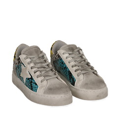 Sneakers azzurre stampa pitone con stella, Chaussures, 15F999101PTAZZU035, 002a