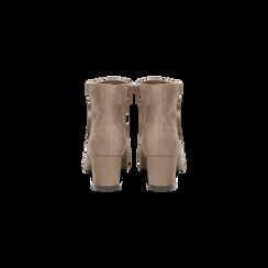 Tronchetti taupe scamosciati, tacco 5 cm, Scarpe, 122707418MFTAUP, 003 preview