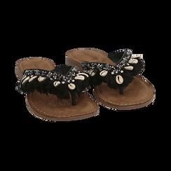 Ciabatte infradito nere in raso con conchiglie, Scarpe, 15K808336RSNERO, 002 preview