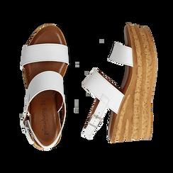 Sandali platform bianchi in eco-pelle, zeppa 8 cm , Saldi Estivi, 13A133255EPBIAN035, 003 preview