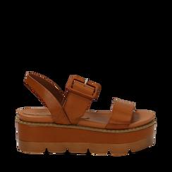 Sandali platform cuoio in eco-pelle, zeppa 7 cm , Primadonna, 132108682EPCUOI037, 001a