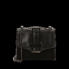 Borsa piccola nera stampa vipera, Primadonna, 161918018EVNEROUNI, 001a