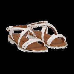 Sandali flat bianchi in eco-pelle,
