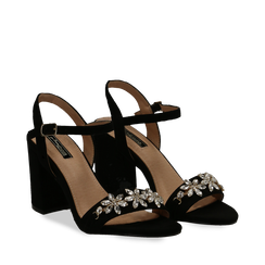 Sandali neri in microfibra con maxi-pietre, tacco 8 cm, Primadonna, 134900971MFNERO035, 002a