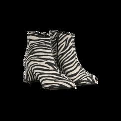 Tronchetti Zebra Print in microfibra, tacco 5,5 cm, 127101501MFZEBR036, 002