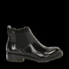 Chelsea boots neri in eco-pelle abrasivata, Primadonna, 140618206ABNERO039, 001a