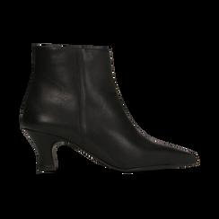 Tronchetti neri in vera pelle, tacco a rocchetto basso 6 cm, Primadonna, 127200154VINERO, 001 preview