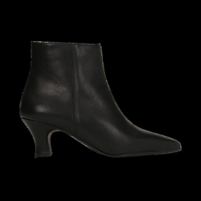 Tronchetti neri in vera pelle, tacco a rocchetto basso 6 cm, Primadonna, 127200154VINERO