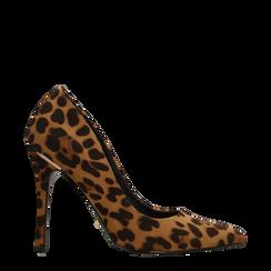 Décolleté leopard con punta affusolata, tacco stiletto 11 cm, Scarpe, 122146861MFLEOP035, 001a