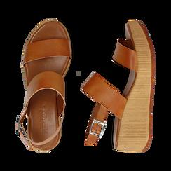 Sandali platform cuoio in eco-pelle, zeppa 5 cm , Saldi, 13C700258EPCUOI036, 003 preview