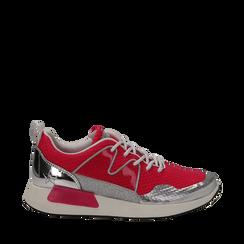 Sneakers fucsia in tessuto tecnico , Scarpe, 132619190TSFUCS035, 001a