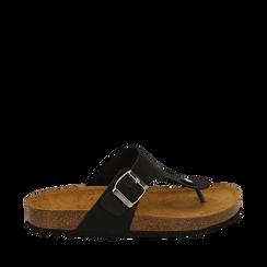 Zeppe nere in eco-pelle con suola in sughero, Scarpe, 136785202EPNERO036, 001a