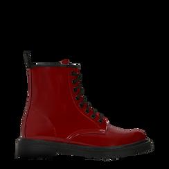 Anfibi rossi vernice, tacco basso, Scarpe, 122801501VEROSS036, 001a