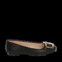Bailarinas con hebilla de ecopiel en color negro, Zapatos, 154969811EPNERO036, 001a
