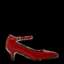 Décolleté rosse kitten heels in vernice, tacco 3 cm, Primadonna, 124951721VEROSS035, 001a