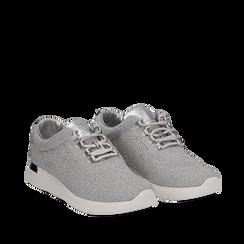 Sneakers argento in tessuto glitter, Scarpe, 133020229GLARGE036, 002a