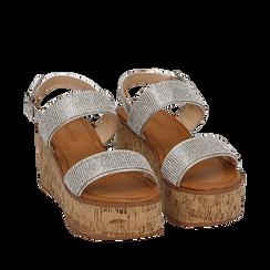 Sandales argentées à imprimé serpent, compensées 7,50 cm, Primadonna, 154951966EVARGE035, 002a