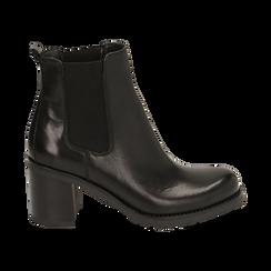 Chelsea boots neri in pelle, tacco 7,50 cm , Promozioni, 167734401PENERO035, 001 preview