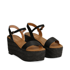 Sandali platform neri in eco-pelle, zeppa in corda 8 cm, Primadonna, 134983293EPNERO036, 002a