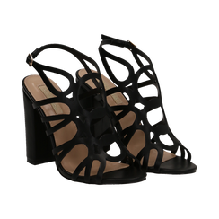 Sandali cage neri in eco-pelle, tacco 10,50 cm,