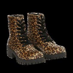 Anfibi leopard in eco-cavallino , Stivaletti, 140585610CVLEMA035, 002a