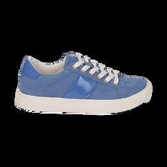 Sneakers azzurre in microfibra, Scarpe, 152619072MFAZZU035, 001 preview