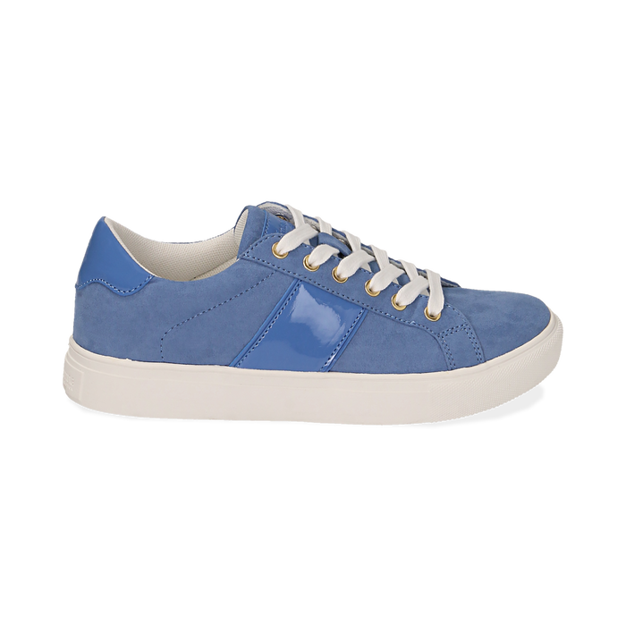 Sneakers azzurre in microfibra, Scarpe, 152619072MFAZZU035