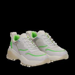 Dad shoes bianche in tessuto con dettagli fluo green, Primadonna, 135018146TSBIVE035, 002a