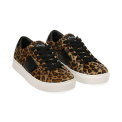 Sneakers leopard marroni in eco-pelle, Scarpe, 142619071CVLEMA036, 002 preview