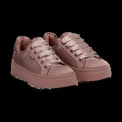 Sneakers nude in tessuto, suola 4 cm  ,