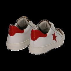 Sneakers bianco/rosse in pelle con pattina leopard, Scarpe, 13C300029PEBIRO036, 004 preview