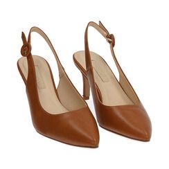 Slingback cognac, tacón 7 cm, Zapatos, 172133673EPCOGN037, 002 preview